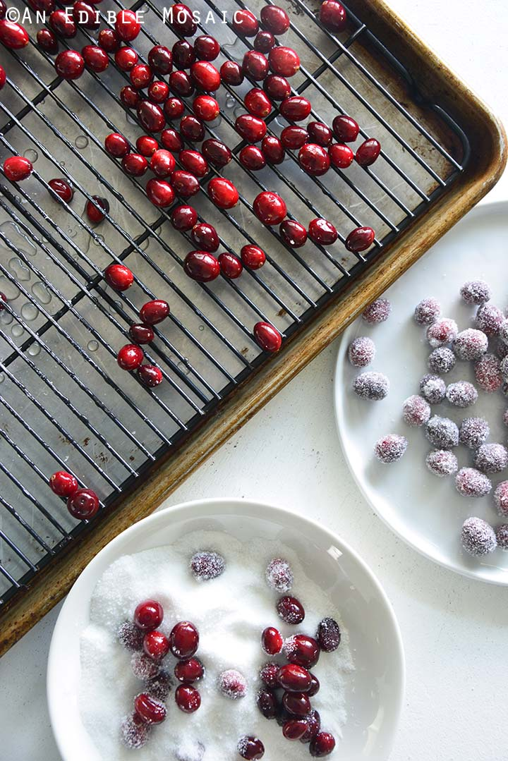 Tray of Cranberries Ready to Roll in Sugar