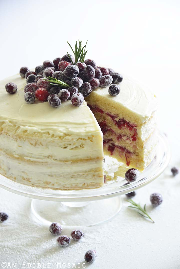 White Cake with Cranberry and Buttercream Layers