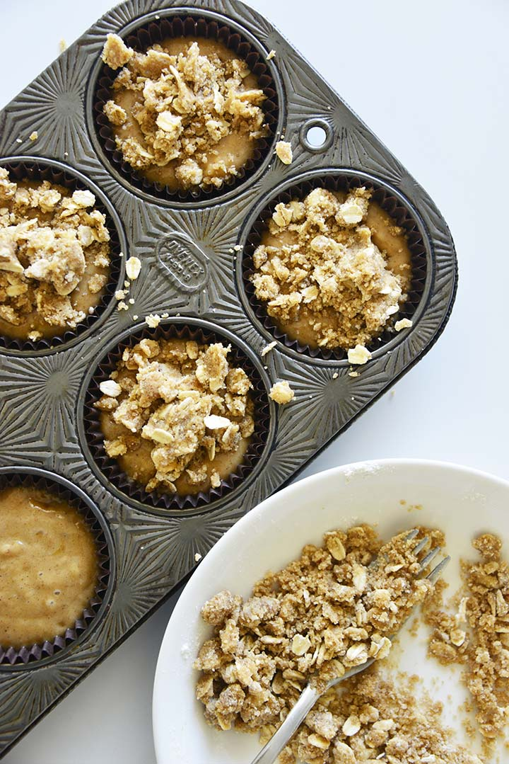 Adding Crumble Topping to Muffin Batter