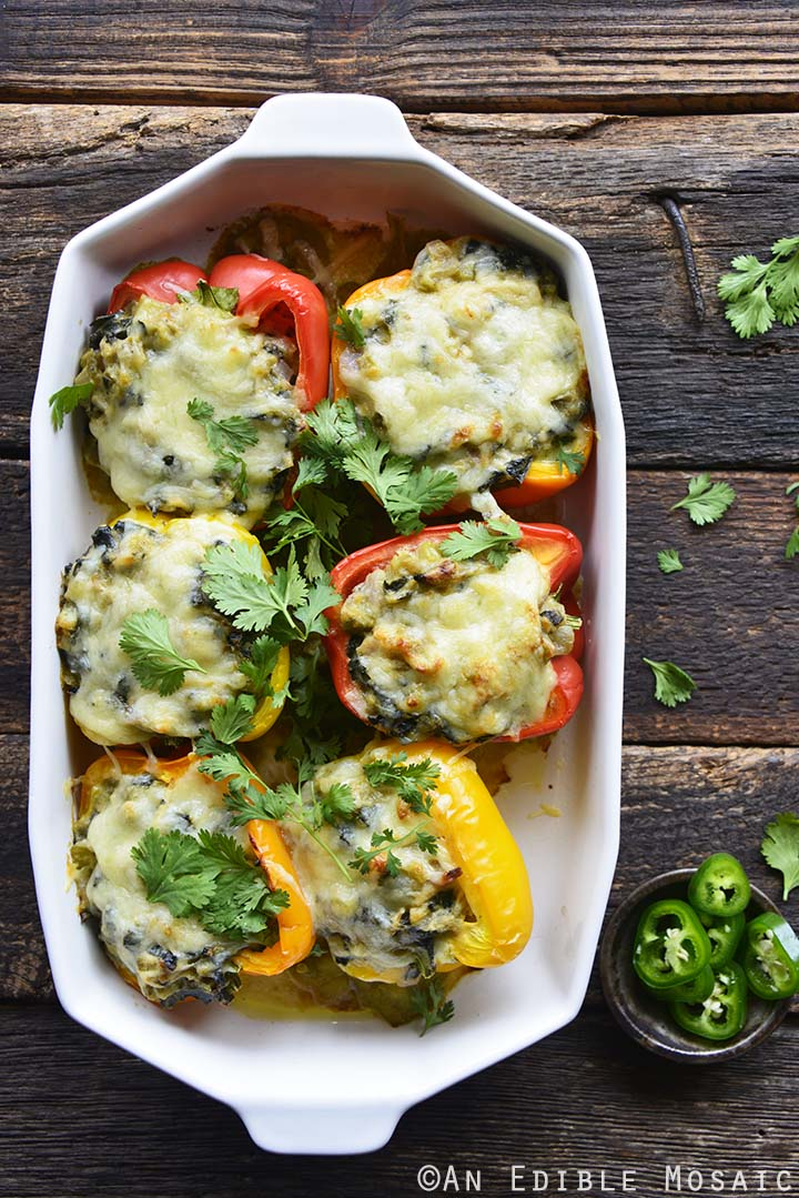 Keto Stuffed Peppers Recipe Top View in Dish on Wooden Table