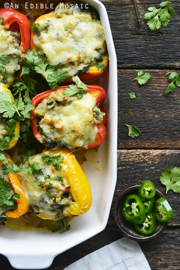 Low Carb Stuffed Peppers Recipe Overhead View in Casserole Dish