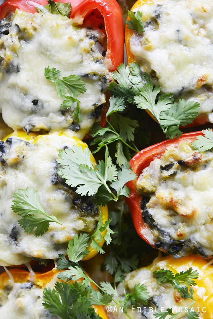 Sprinkling Cilantro on Low Carb Stuffed Peppers