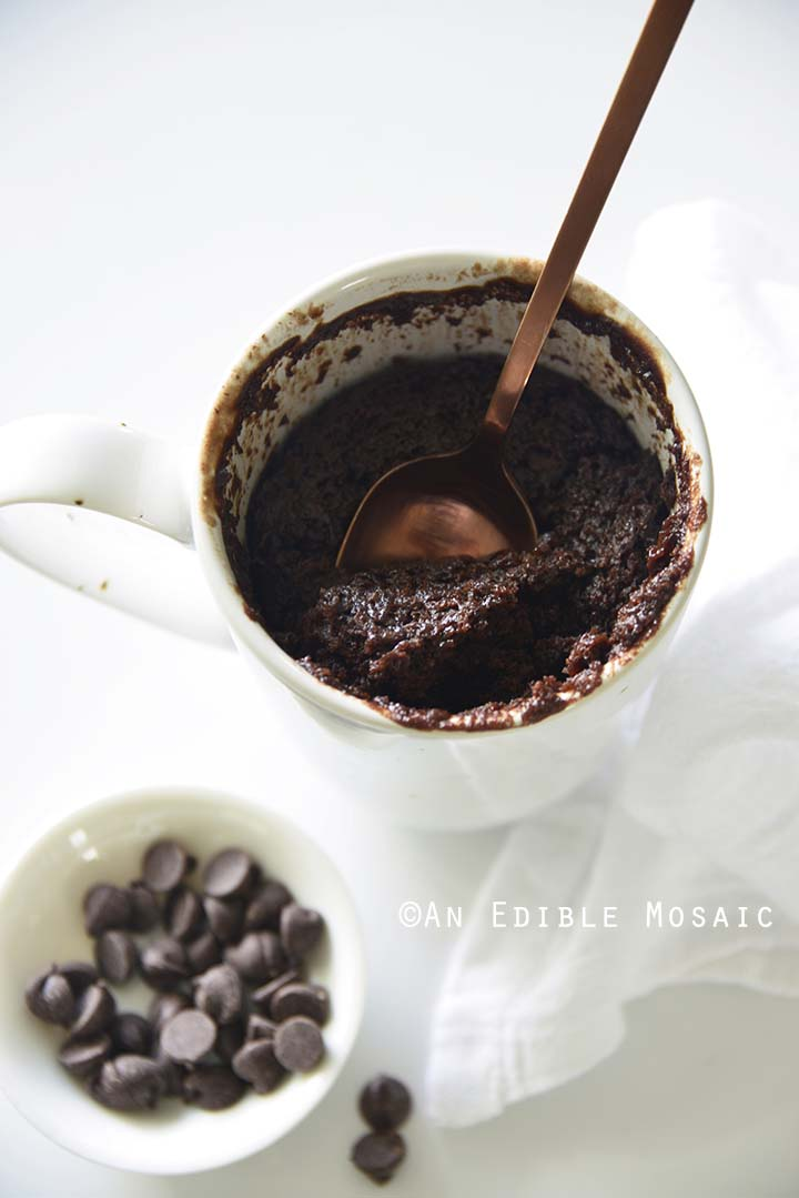 Chocolate Mug Cake with Spoon Dipping In