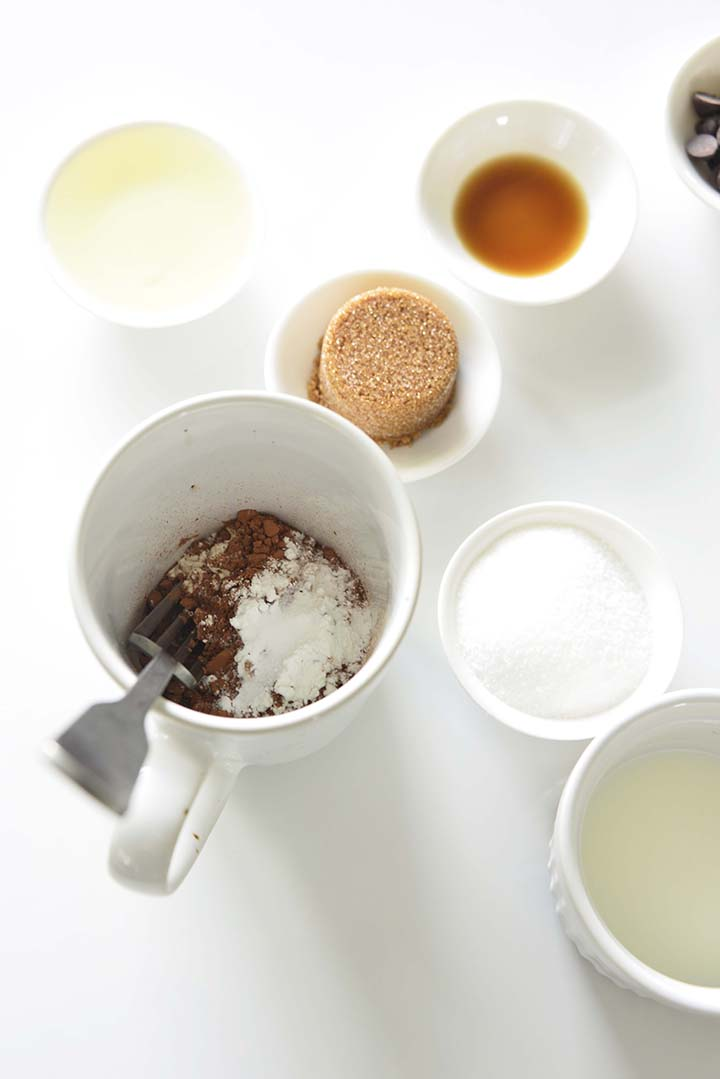 Flour and Cocoa Powder for Mug Cake