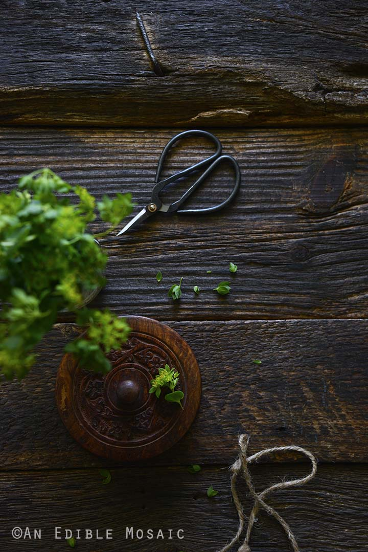 Greenery on Dark Wooden Table