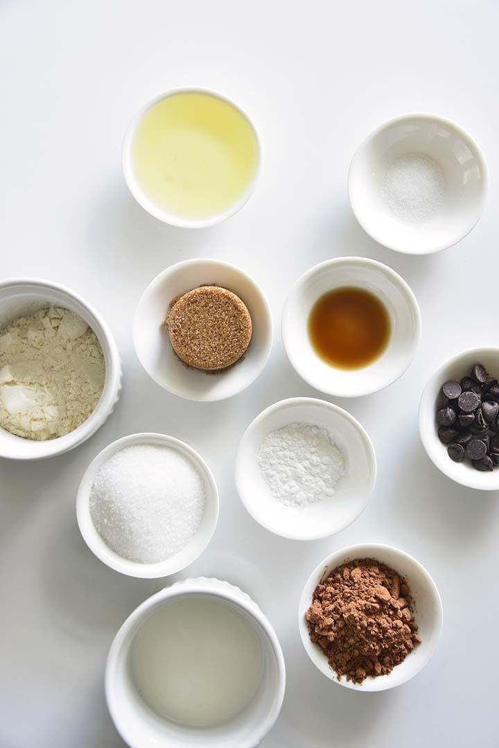 Chocolate Mug Cake Ingredients on White Table