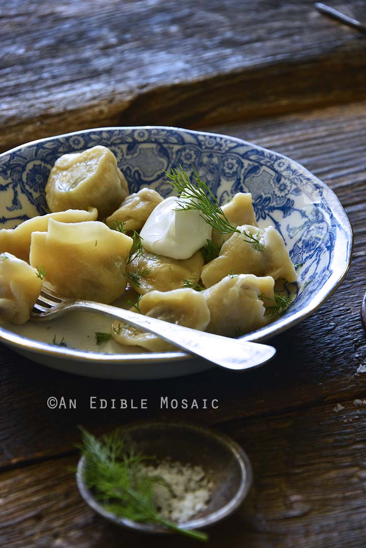 Pelmeni in Blue and White Bowl