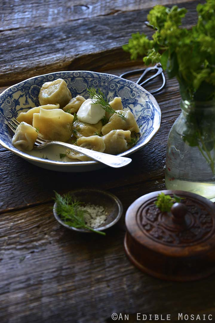 Russian Dumplings in Vintage Bowl on Wooden Table