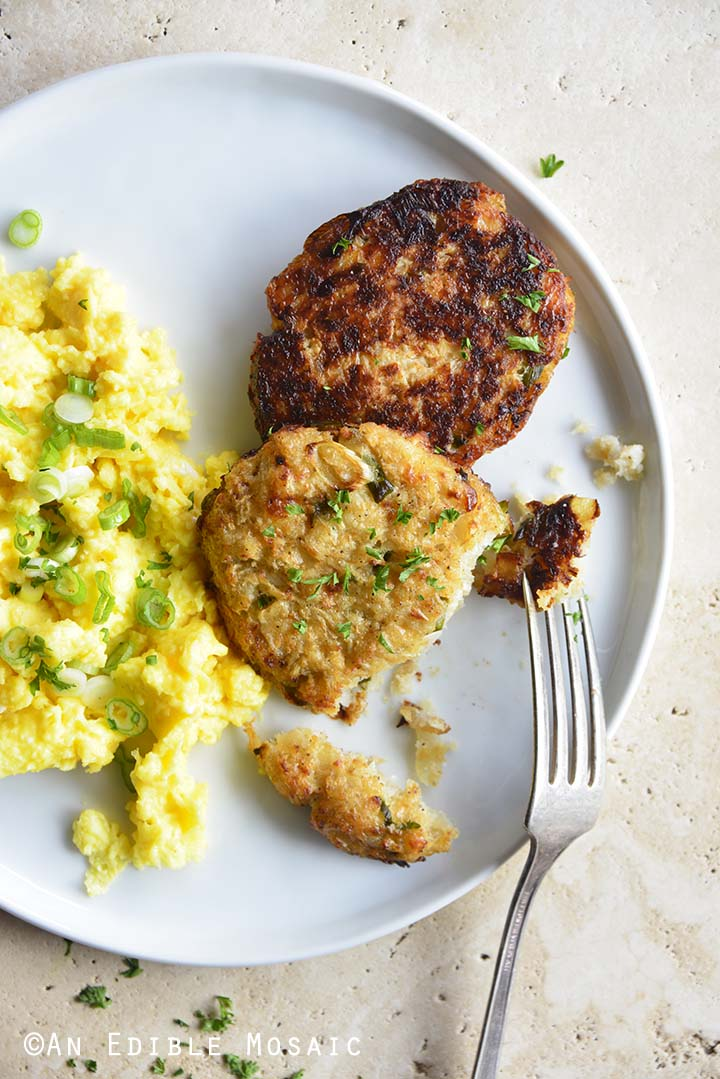 Plate of Scrambled Eggs and Cauliflower Hash Browns