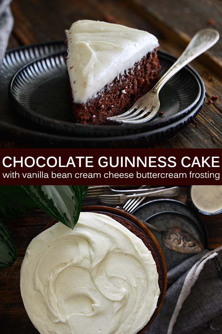 Chocolate Guinness Cake with Vanilla Bean Cream Cheese Buttercream Frosting Pin