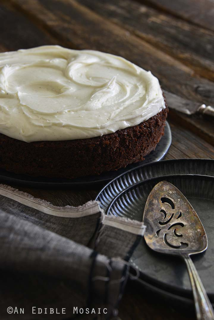 Front View of Guinness Chocolate Cake with Frosting