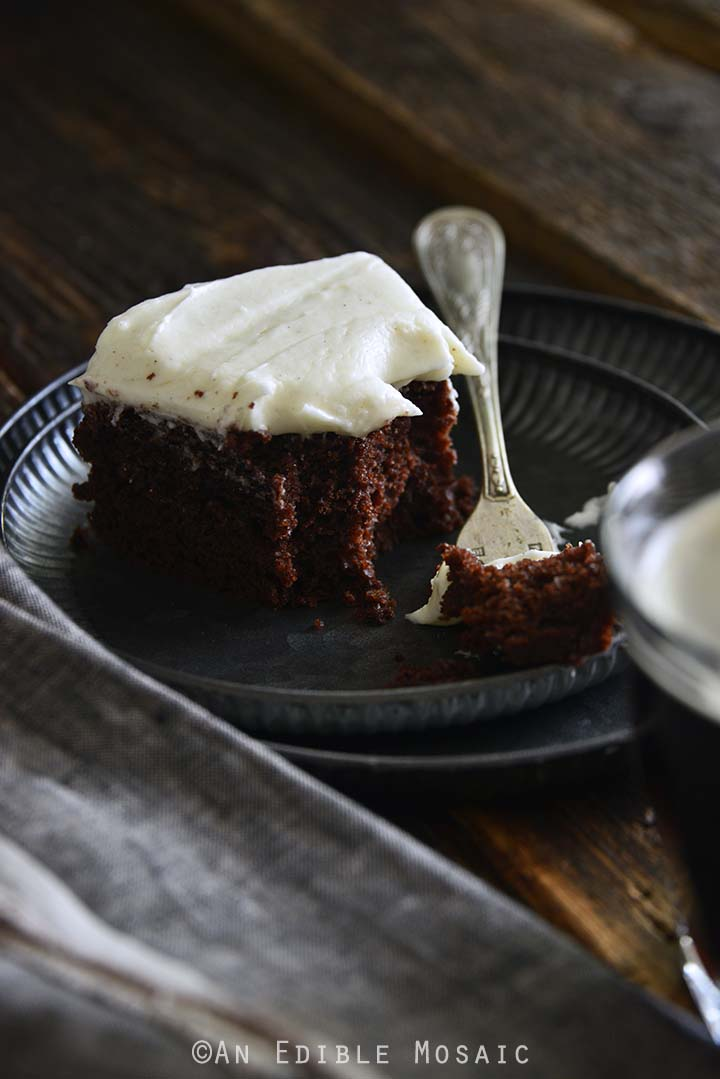 Slice of Guinness Chocolate Cake with Vintage Fork