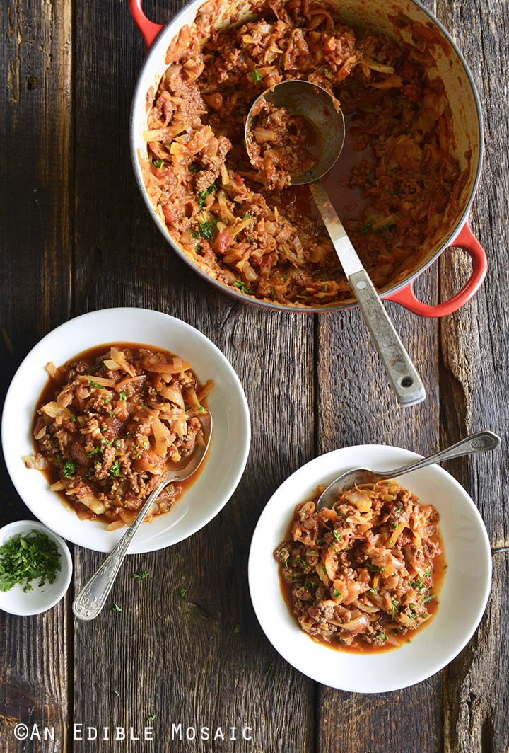 Stuffed Cabbage Casserole in Pot and in Two Serving Bowls