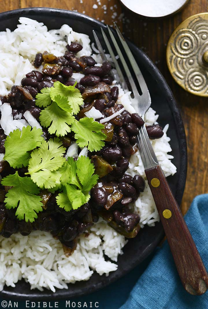 Close Up Top View of Black Beans and Rice on Plate