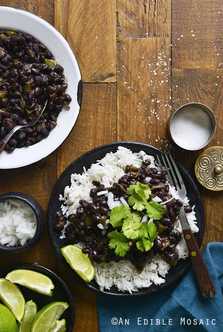 Black Beans and Rice on Wooden Table