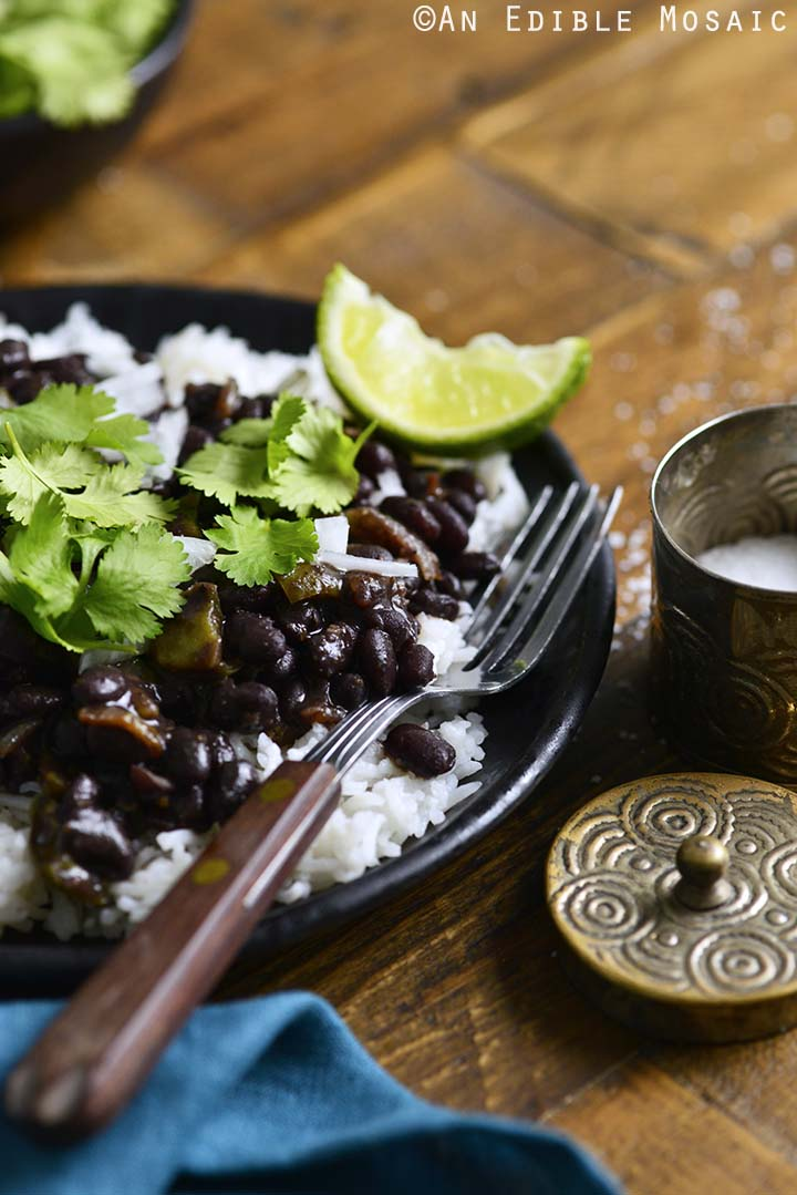Front View of Cuban Black Beans and Rice