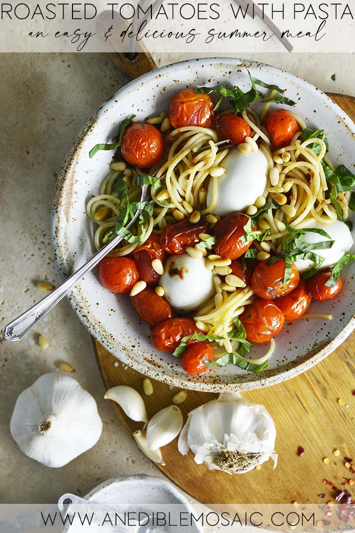 Oven Roasted Tomatoes with Pasta Graphic