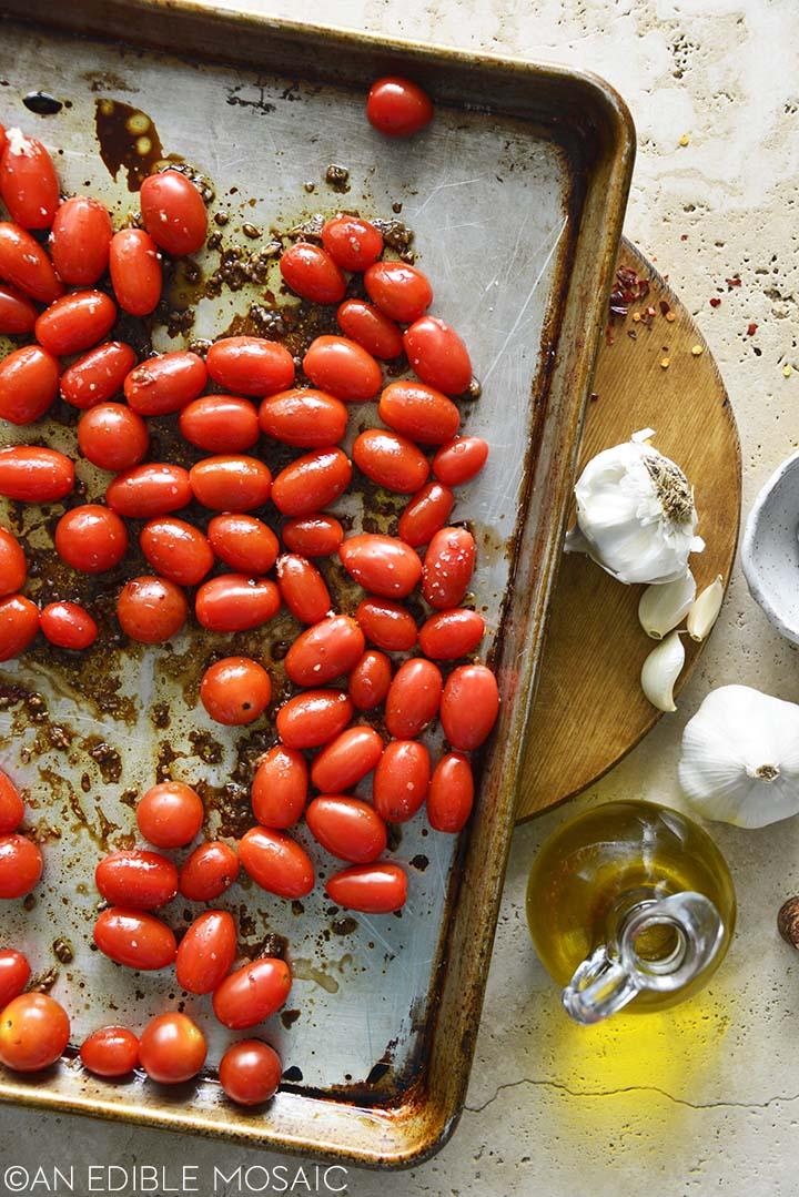 Tomatoes on Sheet Pan Ready to Roast