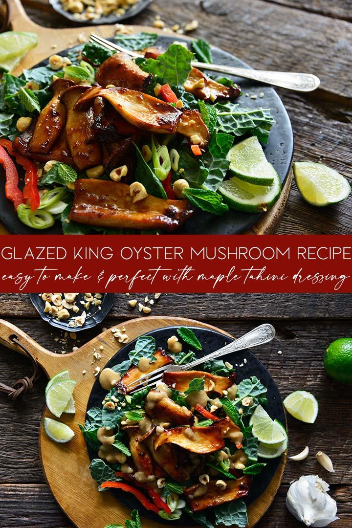 glazed king oyster mushroom recipe pin