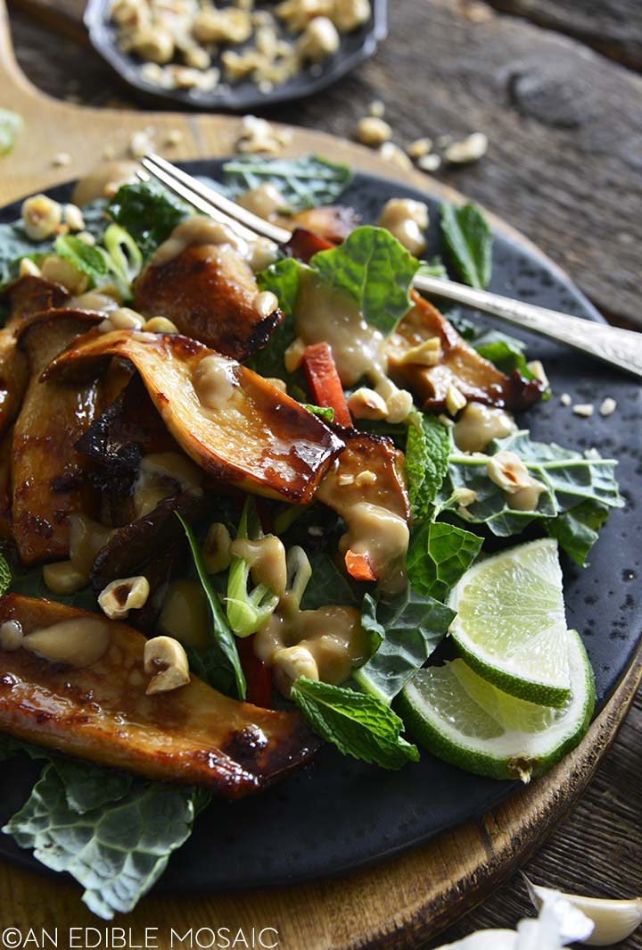 front view of glazed king oyster mushroom salad