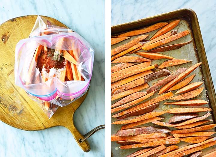 making sweet potato fries collage