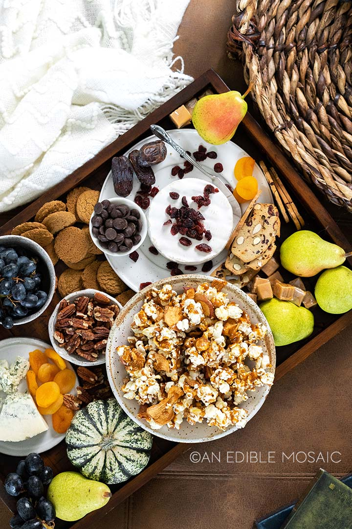 apple caramel popcorn snack board for movie night