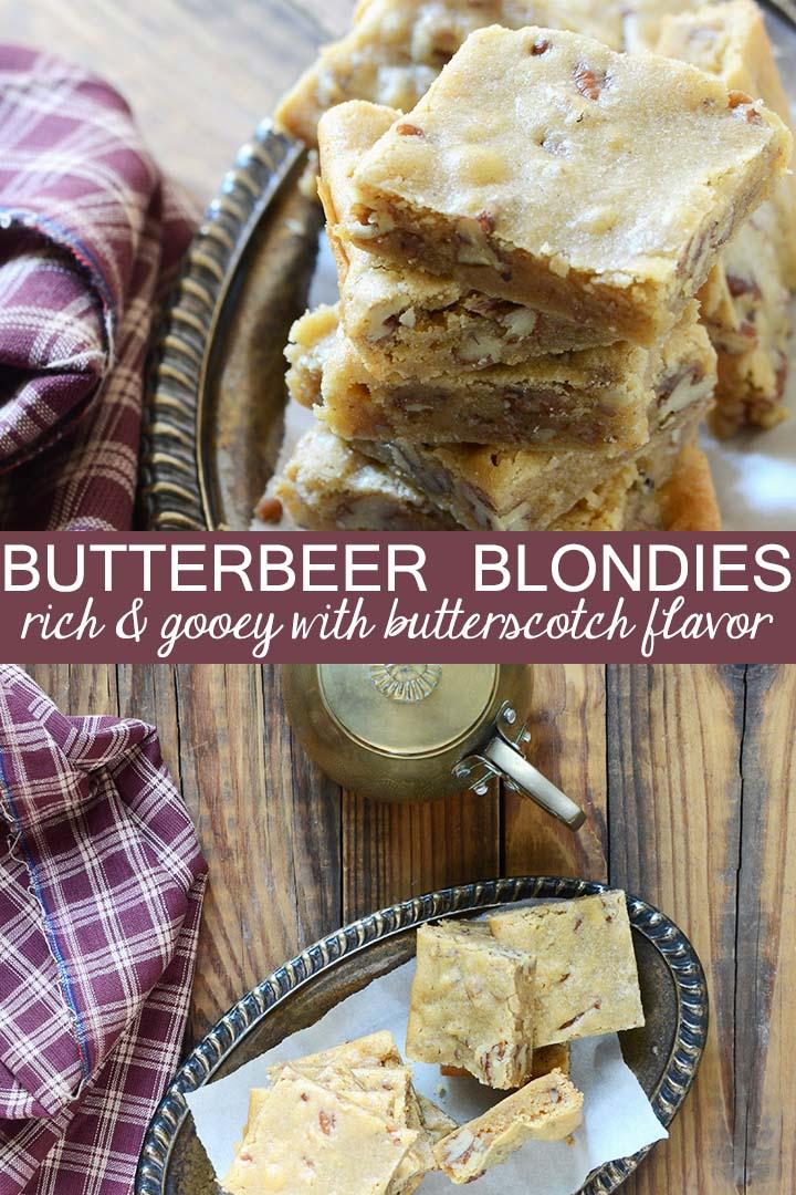 butterbeer blondies recipe pin
