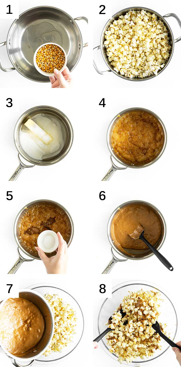 how to make caramel popcorn collage