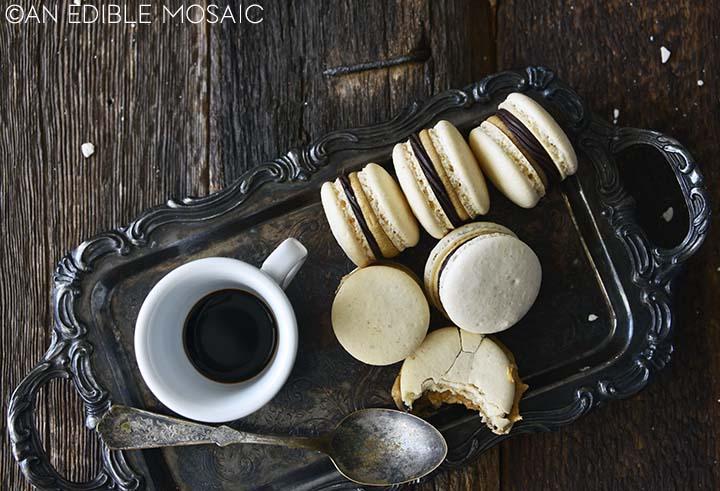 macarons with chocolate ganache and coffee buttercream