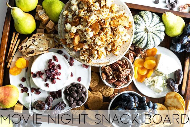 movie night snack board with description