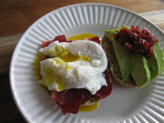 Picadilly Relish on English Muffin Egg Sandwich with Turkey Bacon and Avocado