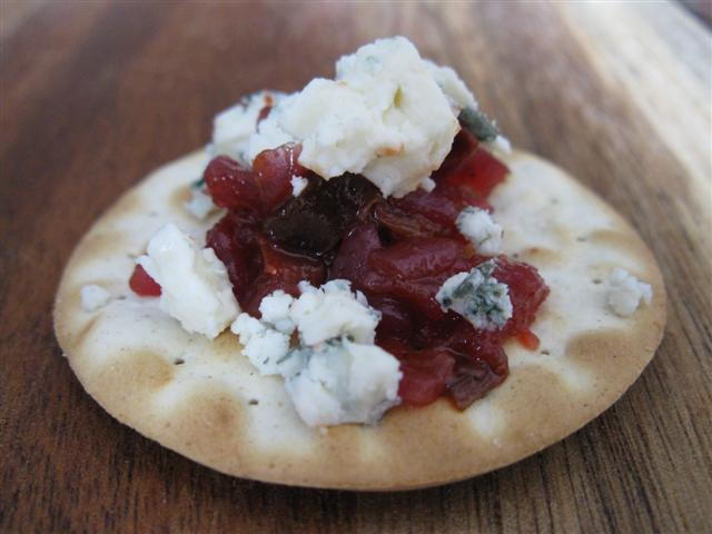 Picadilly Relish on Water Crackers with Bleu Cheese
