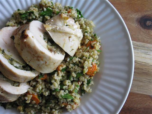 Golden Raisin Chermoula Chicken with Bulgur Pilaf