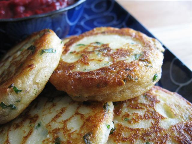 Garlicky Mashed Potato Cakes with Raspberry Ginger Mustard Chutney