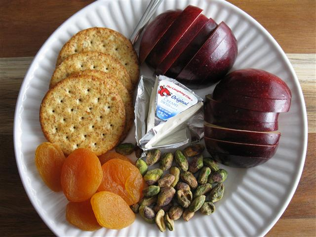 fruit  cheese and nuts snack