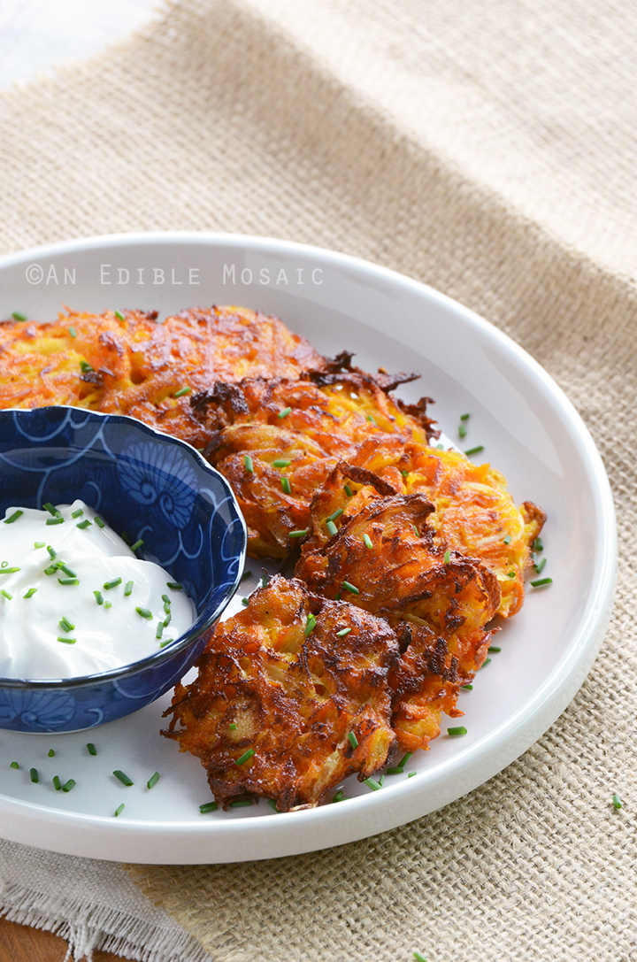 Carrot Latkes with Yogurt Sauce