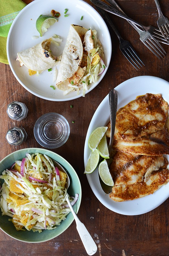 Ancho garlic fish tacos with citrus mint cabbage slaw for Fish taco red cabbage slaw