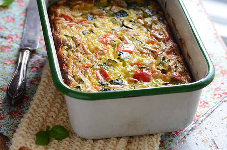 Roasted Vegetable Crustless Quiche with Basil & Pine Nuts {Cuisine ...