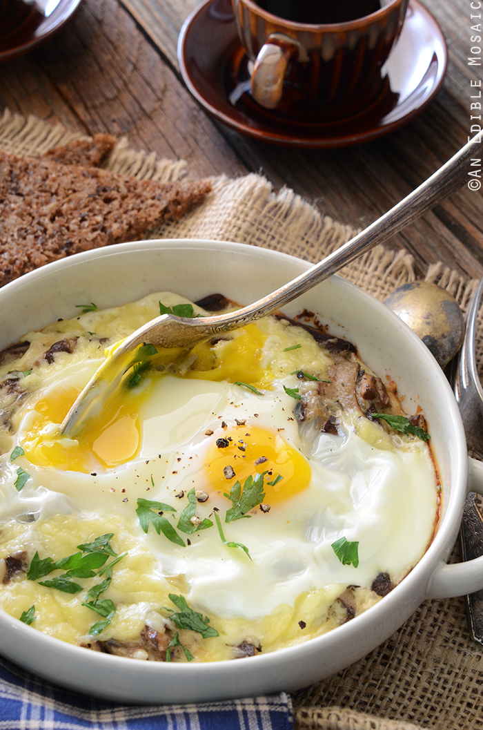 parmesan baked eggs with mushrooms and baked eggs with mushrooms and ...