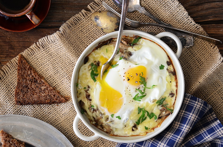 An Edible Mosaic™ » Cheesy Mushroom Baked Eggs for Two