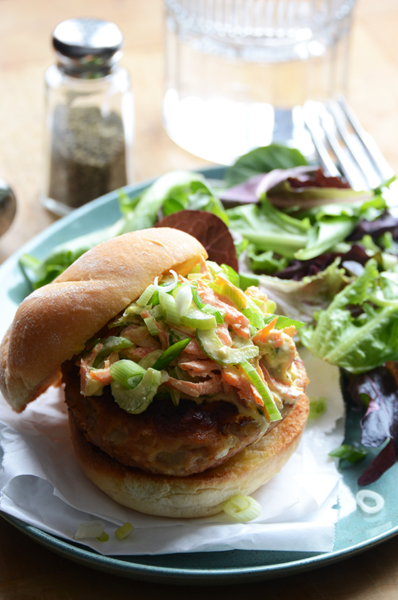 Buffalo Turkey Burgers With Blue Cheese Broccoli Slaw ...