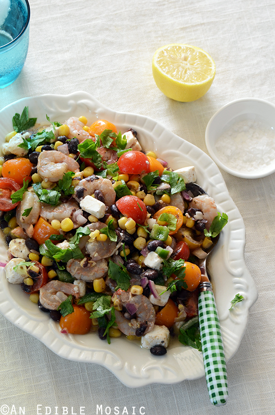Shrimp, Black Bean, and Tomato Salad with Feta and Spicy Southwest ...