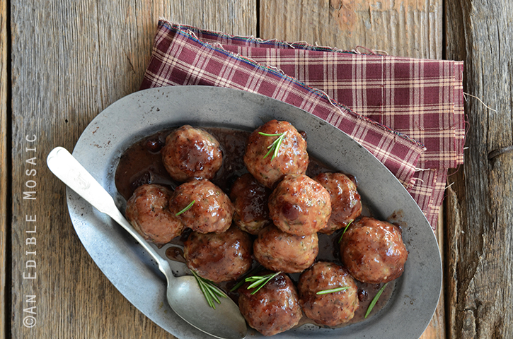 Herbed Roquefort-Stuffed Turkey Meatballs with Cranberry Apple Glaze ...