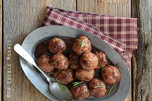 ... -Stuffed Turkey Meatballs with Cranberry Apple Glaze and Salad Greens