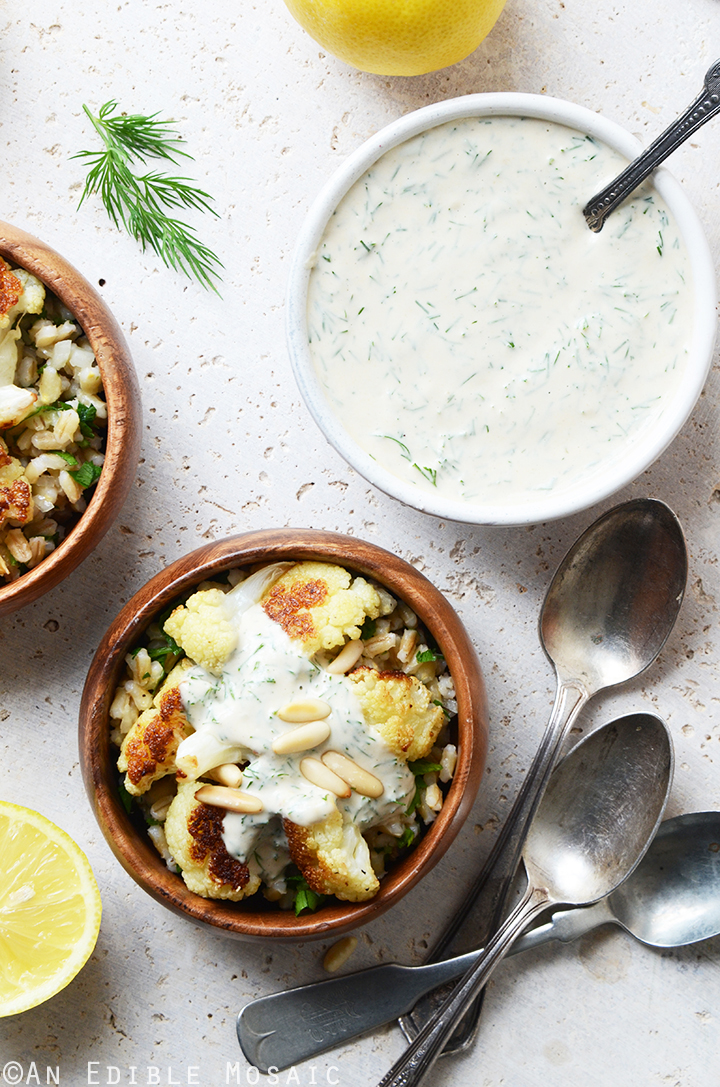 Roasted Cauliflower and Pearl Barley Bowls with Creamy Tahini-Dill ...