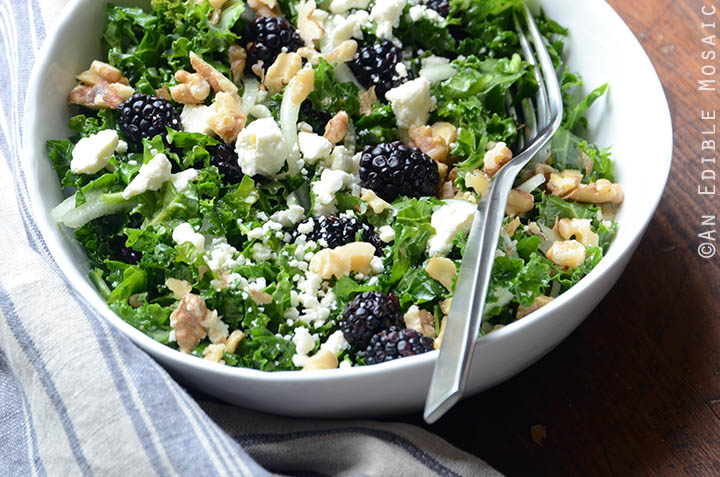 Blackberry and Toasted Walnut Kale Salad with Goat Cheese Recipe