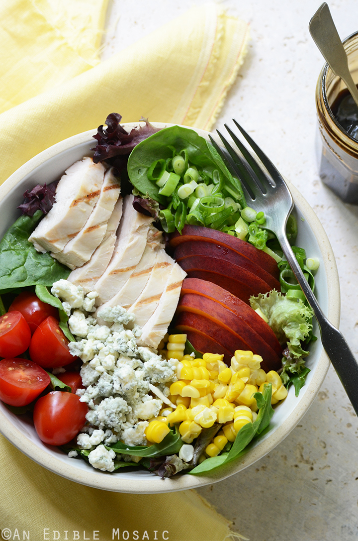 Grilled Chicken Salad with Corn, Peaches, Blue Cheese, and Balsamic ...