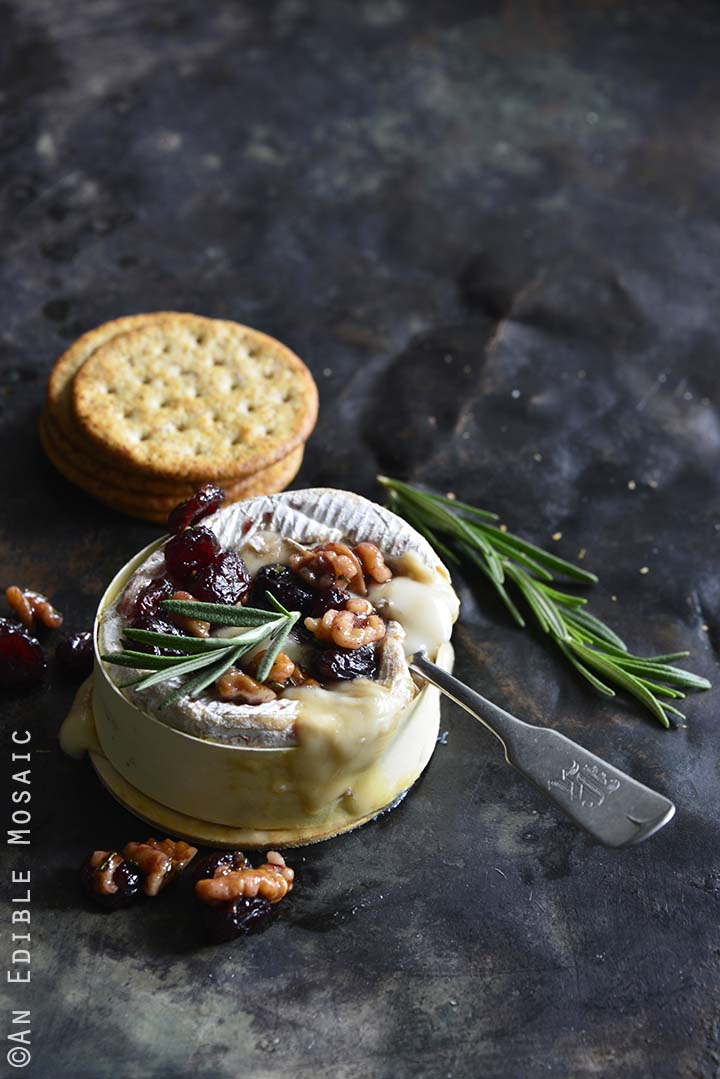 Baked Goat Brie with Spiced Rosemary-Scented Honey and Red ...
